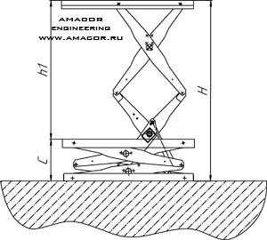 Схема низкорамного подъемного стола